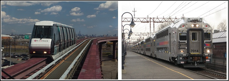 AirTrain and nj transit train