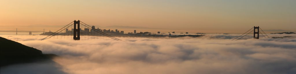 San Francisco with two bridges and the fog