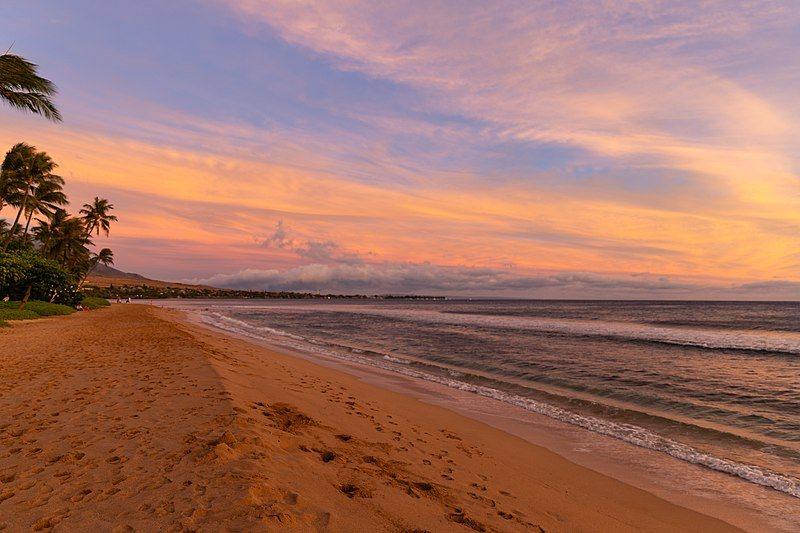 Sunset Kaanapali beach Maui Hawaii