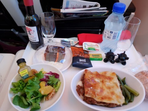 Virgin Atlantic Premium Economy Meal - lasagne