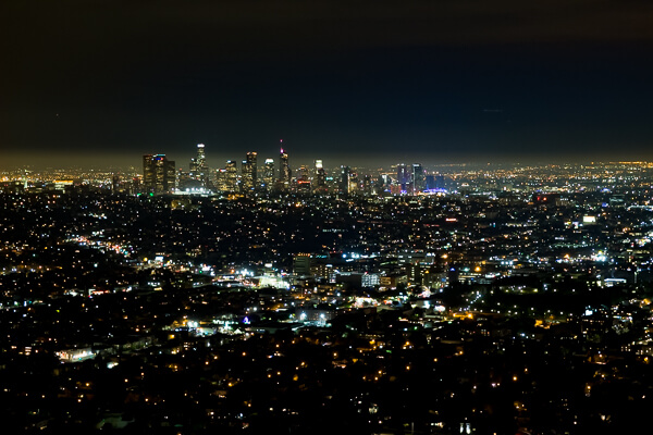 downtown LA Skyline at night from Griffith observatory