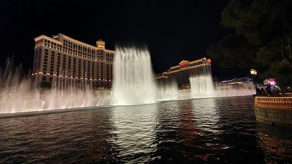 Bellagio Fountains at night Las Vegas
