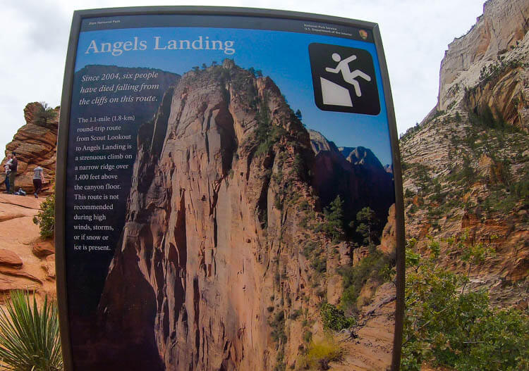 Angels Landing Zion Warning