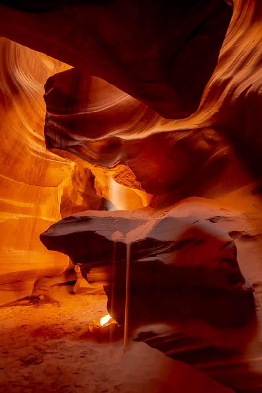 Antelope Canyon Sunbeam and Sandfall
