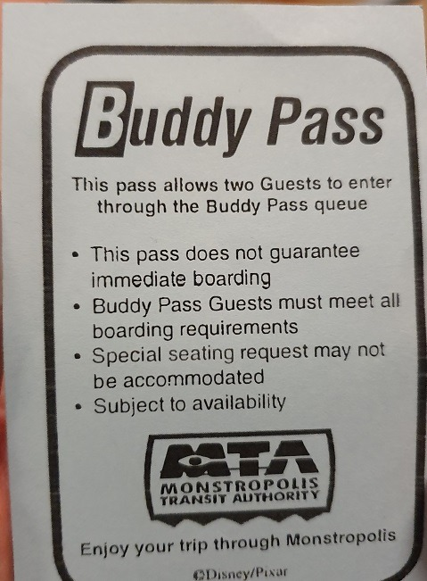 Monsters Inc Buddy pass
