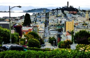 Coit tower from Russian Hill