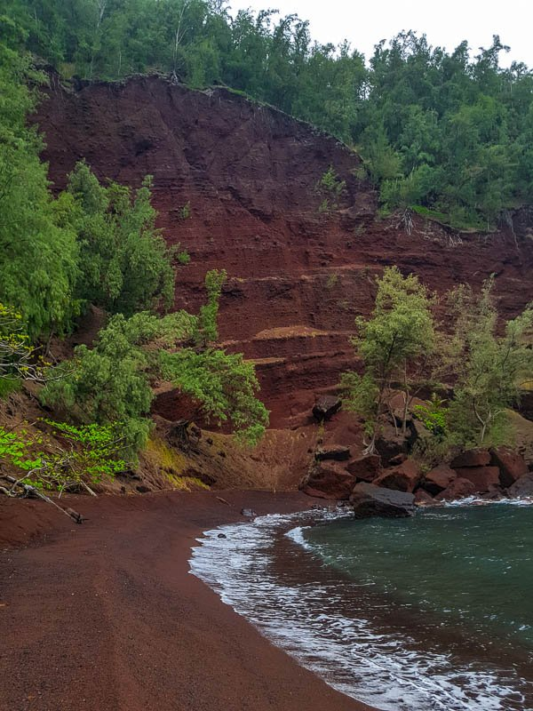 Red Sand Beach cliffs