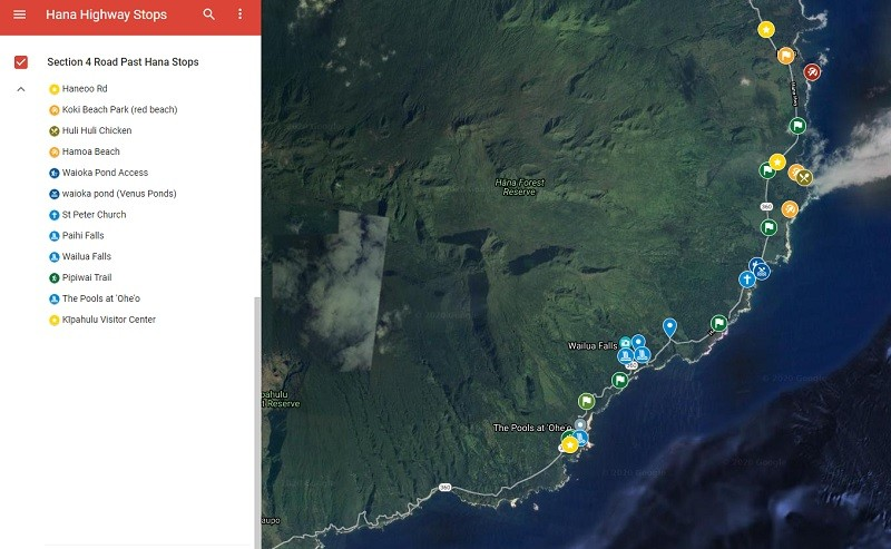 Road past Hana Map