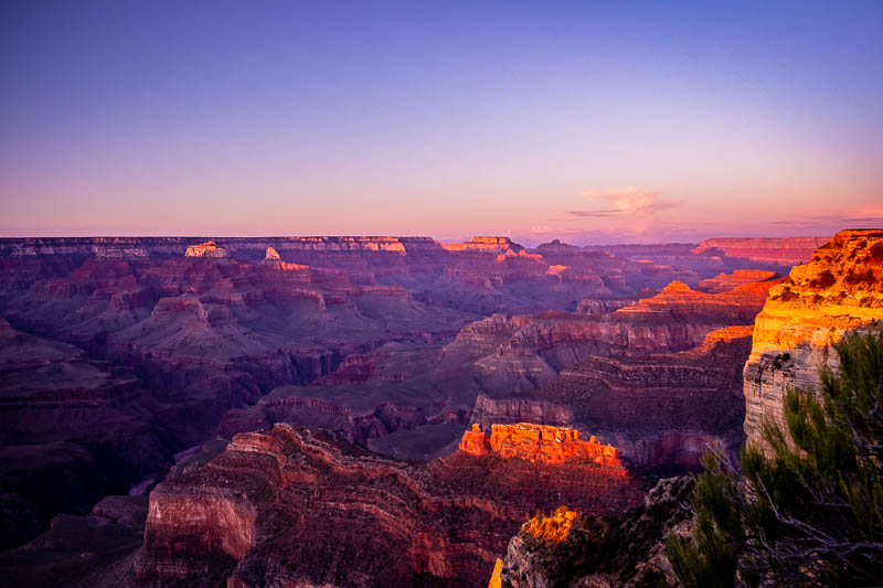 Sunset at the South Rim Grand Canyon