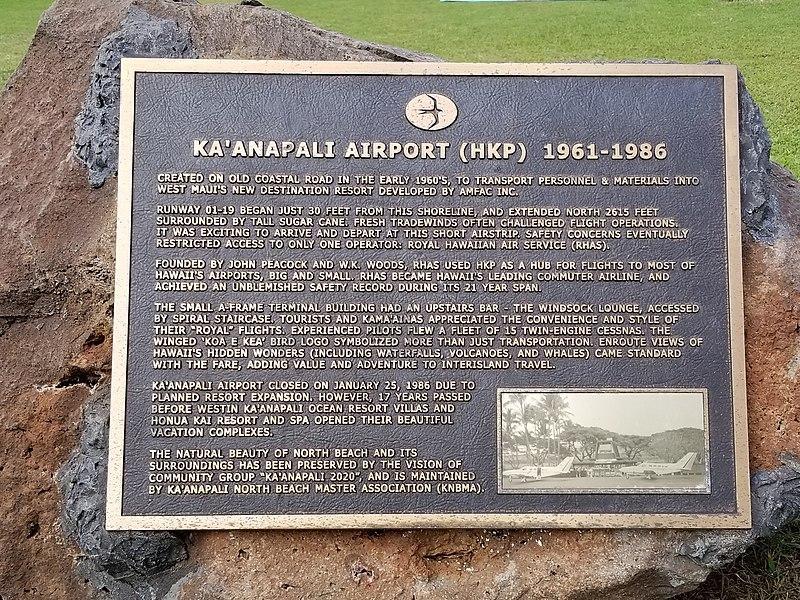 Ka'anapali Airport Plaque