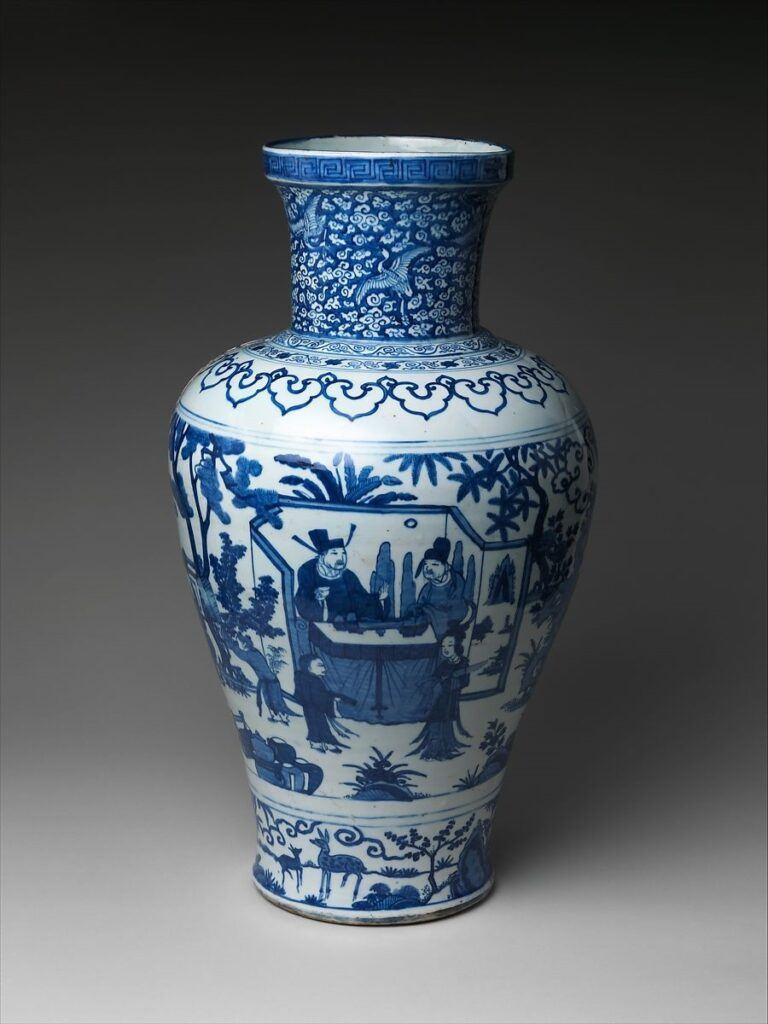 Jar with Poet Zhou Dunyi  dated 1587 China Ming dynasty