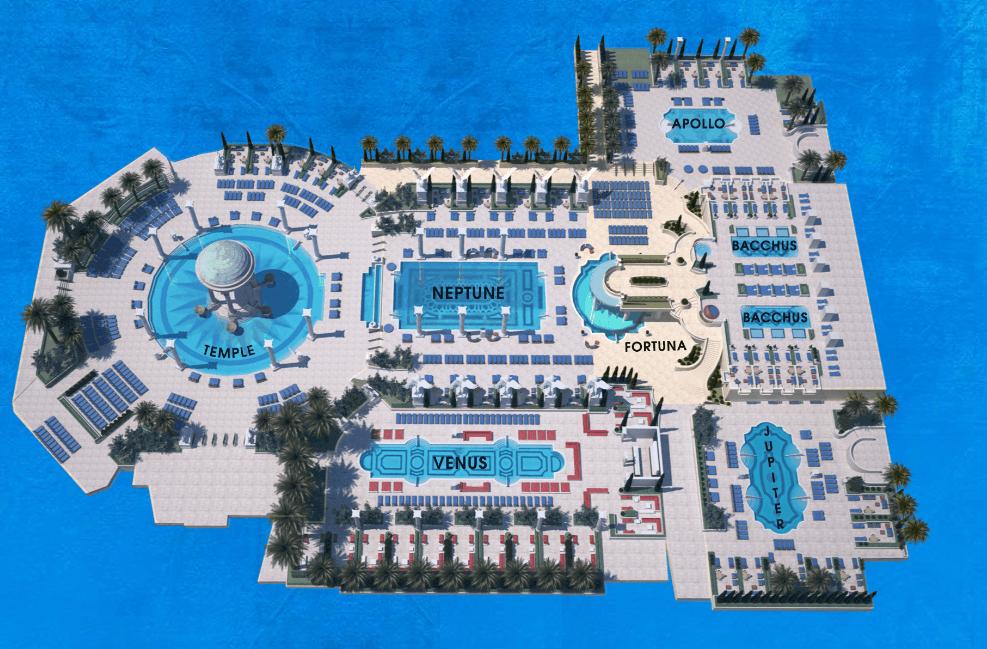Caesars Palace Pool Layout