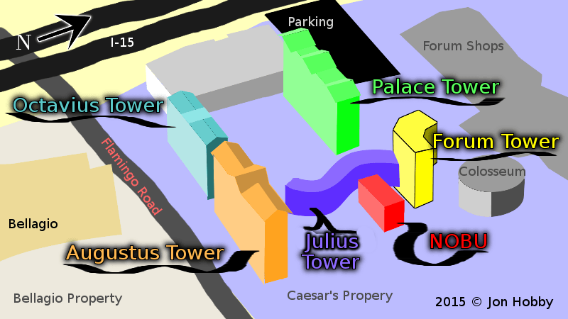 The 6 Towers of Caesars Palace